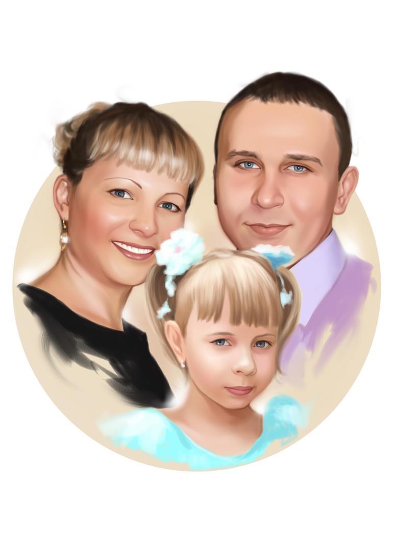 Семейный портрет по фото на холсте в Красноярске — правильный подарок!